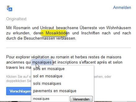 Übersetzen mit Google Translate
